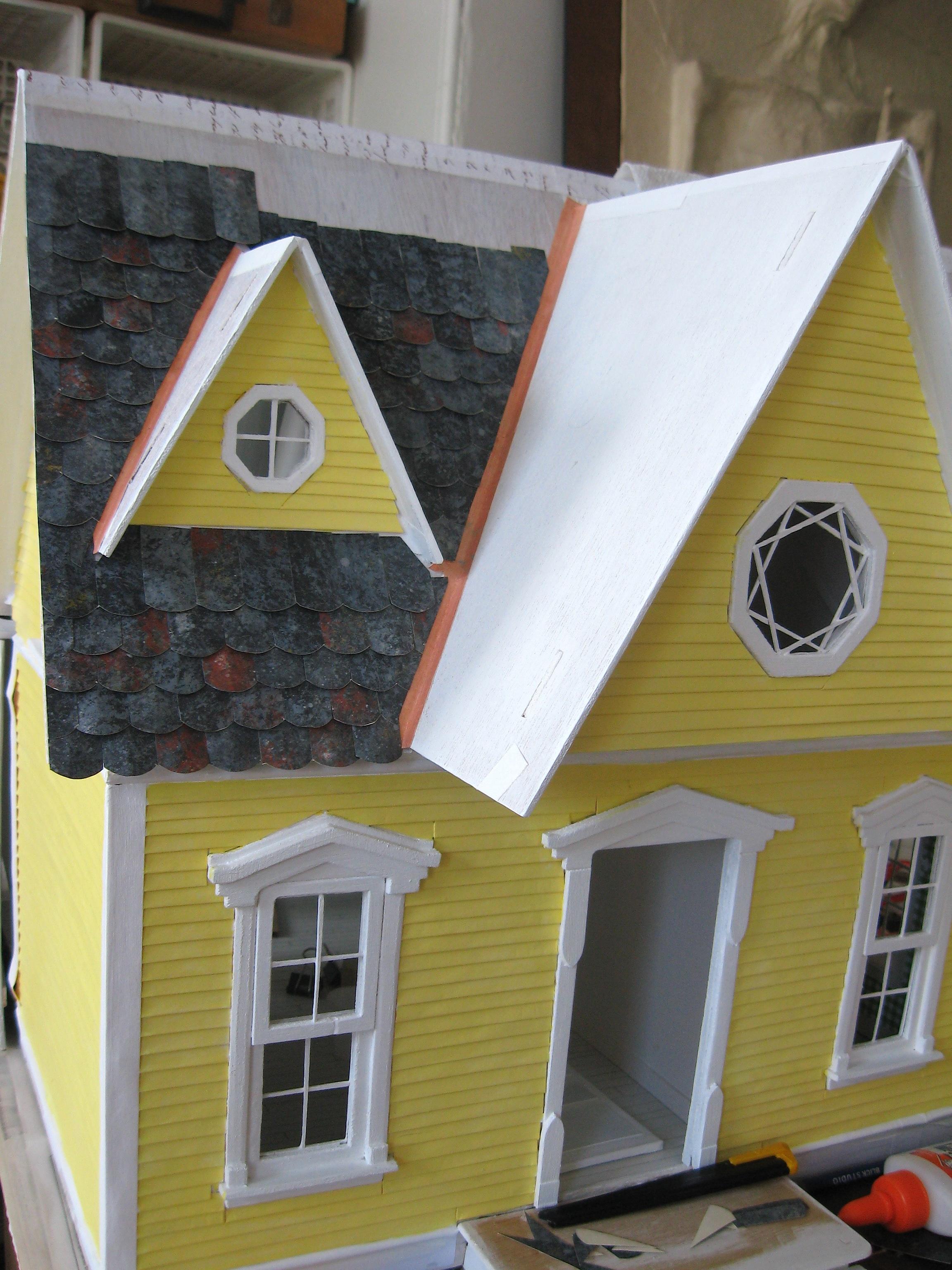 Slate roof tiles in progress.