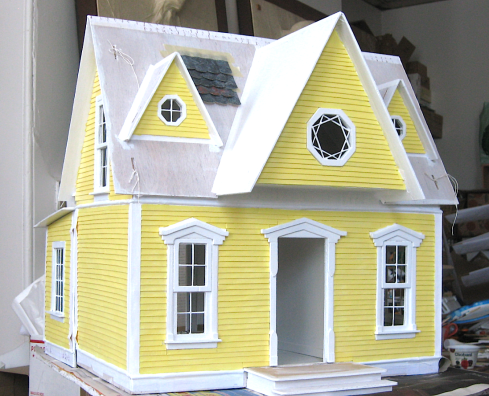 Yellow dollhouse, in progress, front.