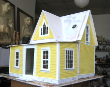 Yellow dollhouse, north side and back, in progress.