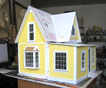 Yellow dollhouse, south side and back, in progress