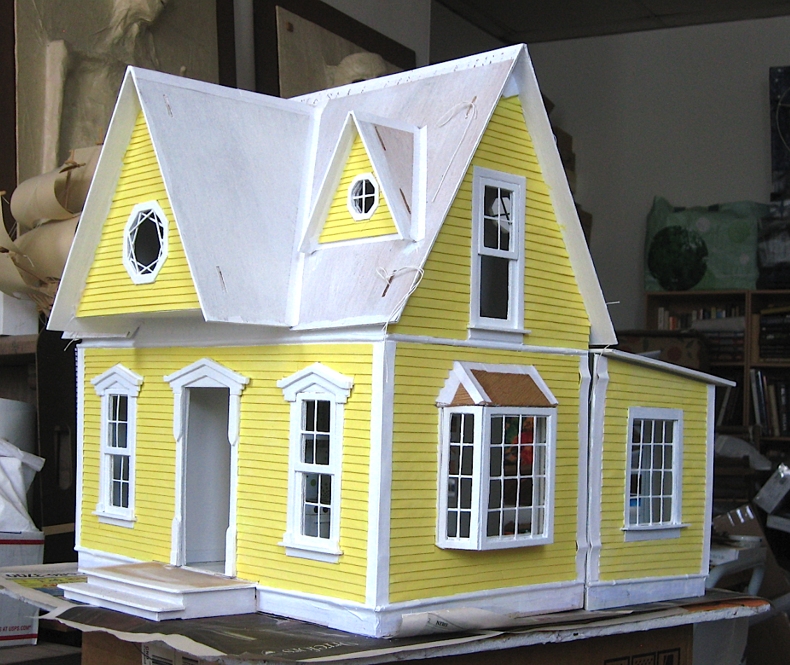 Yellow dollhouse, south side and front, in progress.