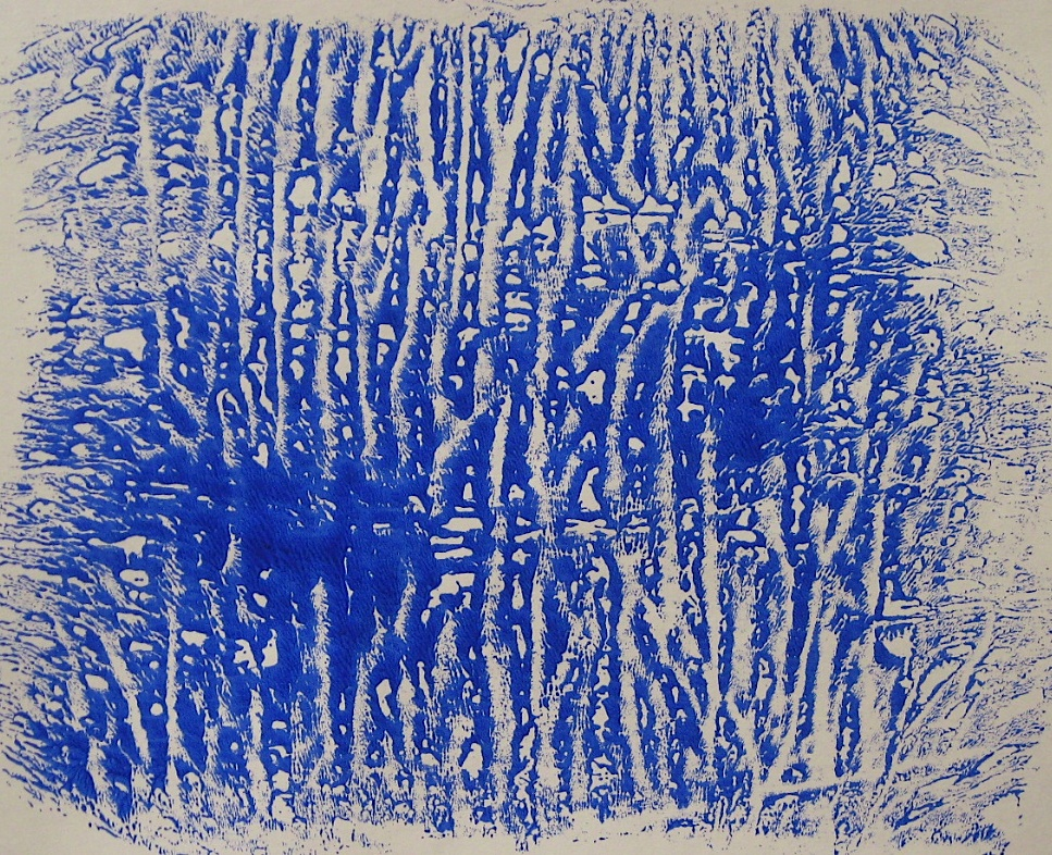 JFries Birches 2, dendritic monotype, acrylic on paper, 2/26/19.