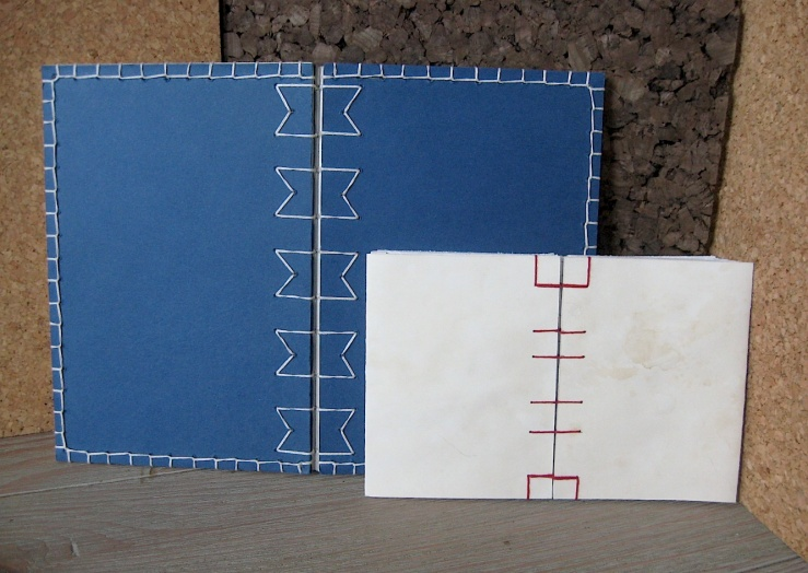 JFries, sketchbook and notebook, spine stitchwork, 2/26/19.